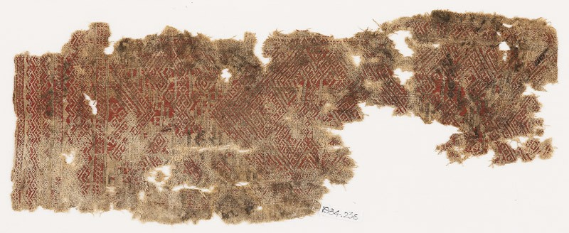 Textile fragment with diamond-shapes and hooks (EA1984.236, front            )