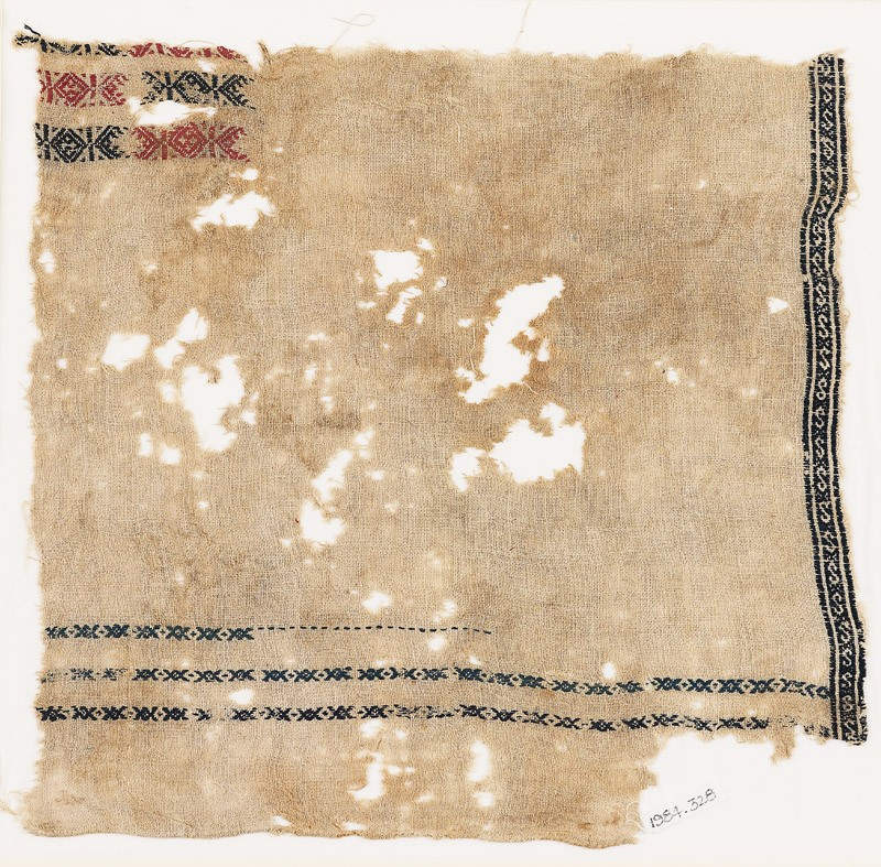 Textile fragment with bands of S-shapes, X-shapes, and diamond-shapes
