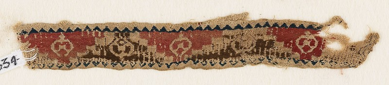 Textile fragment with triangles, roundels, and pseudo-inscription (EA1984.334, front            )