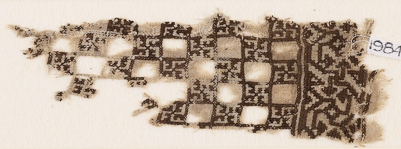 Textile fragment with linked squares and swastikas (EA1984.381, front            )