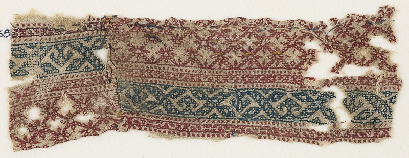 Textile fragment with grid and vines (EA1984.568, front            )