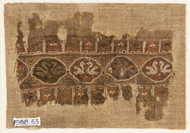 Textile fragment with linked medallions and birds (EA1988.63, front           )