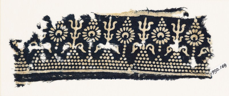 Textile fragment with stylized trees and flowers (EA1990.169, front            )