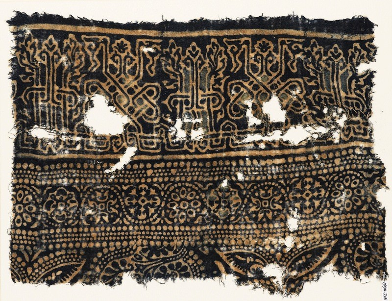 Textile fragment with interlace based on naskhi script, rosettes, and floral pattern (EA1990.215, front            )