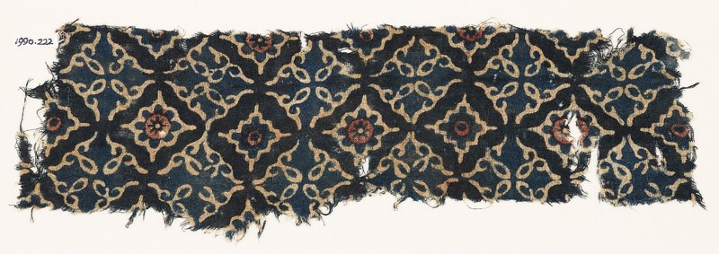 Textile fragment with lobed diamond-shapes and leaves (EA1990.222, front            )