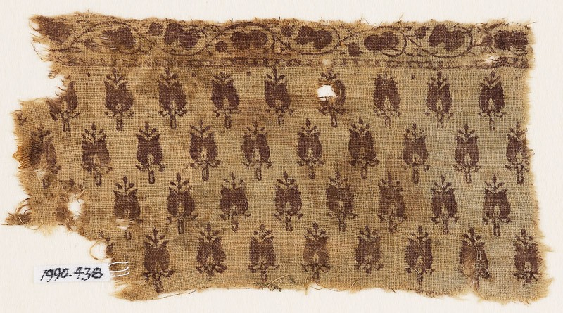 Textile fragment with stylized flower-heads (EA1990.438, front            )