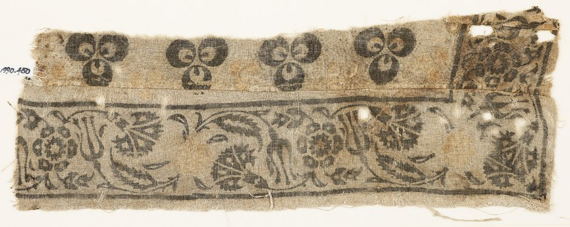 Textile fragment with carnations, rosettes, and tulips (EA1990.450, front            )