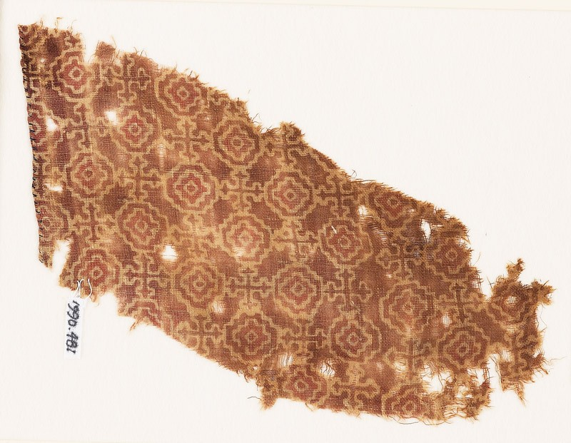 Textile fragment with stepped squares, linked by Maltese crosses (EA1990.481, front            )