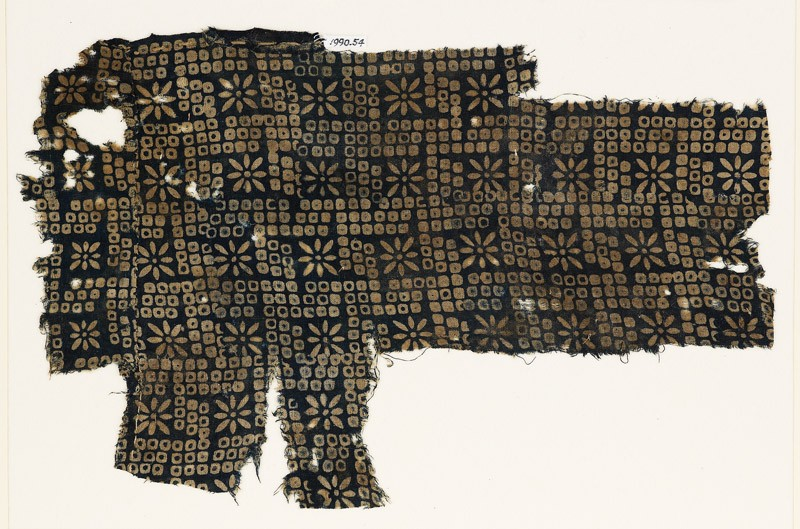 Textile fragment with bandhani, or tie-dye, imitation and rosettes (EA1990.54, front           )