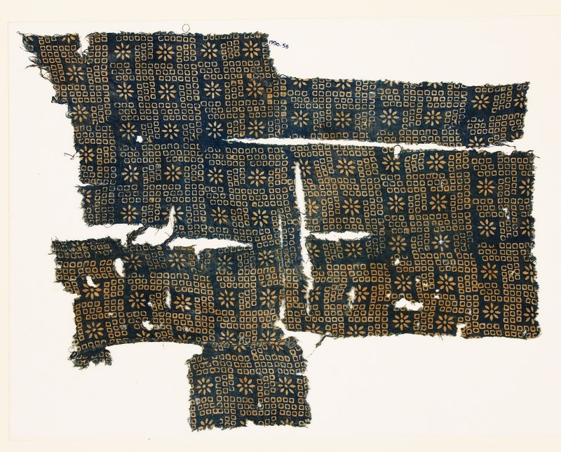 Textile fragment with bandhani, or tie-dye, imitation and rosettes (EA1990.56, front           )