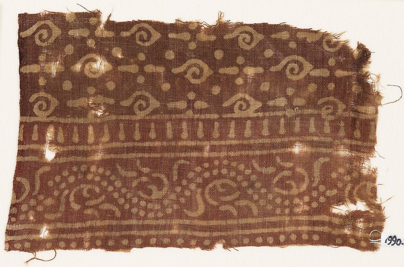 Textile fragment with spirals and dotted vine (EA1990.561, front            )