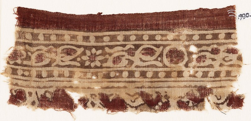 Textile fragment with bands of rosettes, leaves, and dots (EA1990.645, front            )