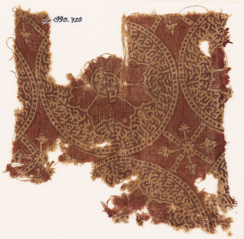 Textile fragment with circles, rosettes, and tendrils (EA1990.720, front            )