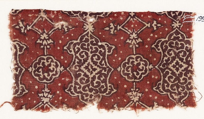 Textile fragment with cartouches and rosettes (EA1990.772, front            )