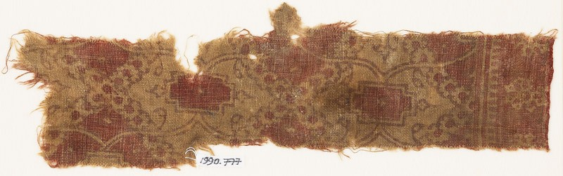 Textile fragment with cartouches, tendrils, and rosettes