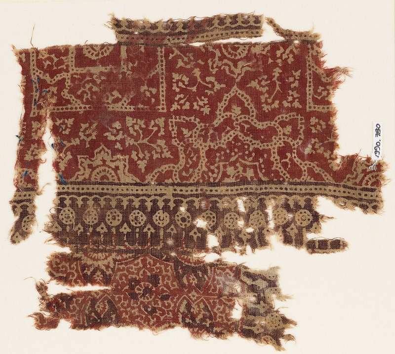 Textile fragment with half-medallions, squares, and plants (EA1990.780, front            )