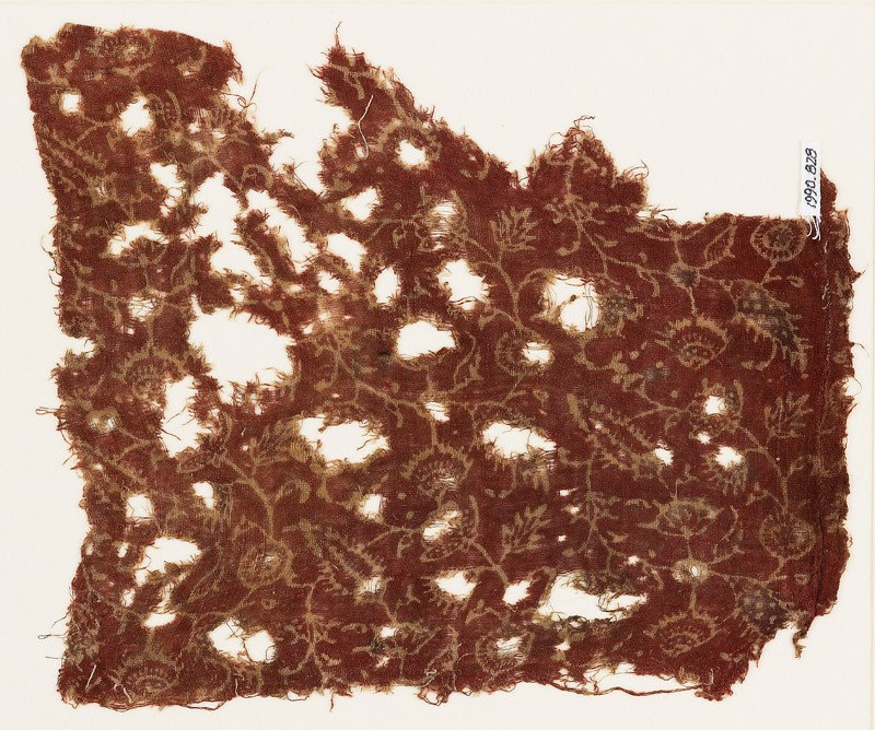 Textile fragment with tendrils and flowers (EA1990.828, front            )