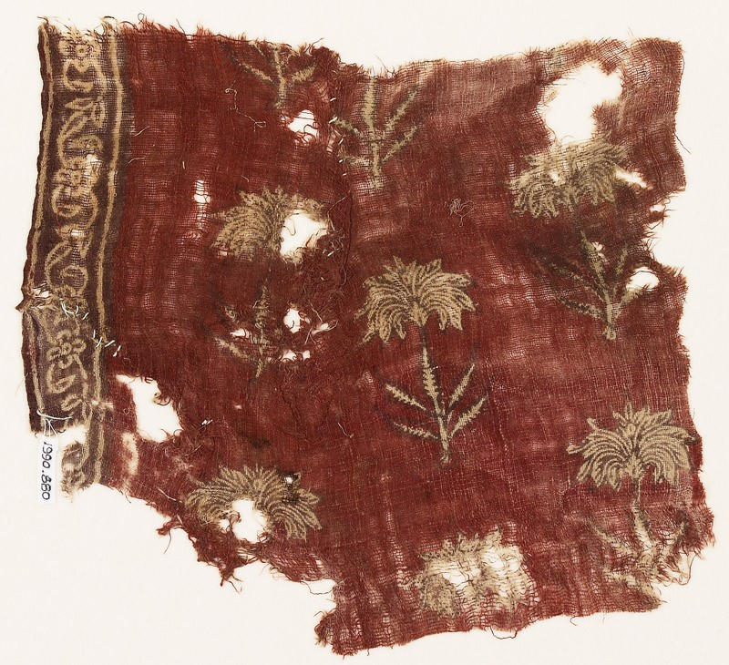 Textile fragment with flowers (EA1990.880, front            )