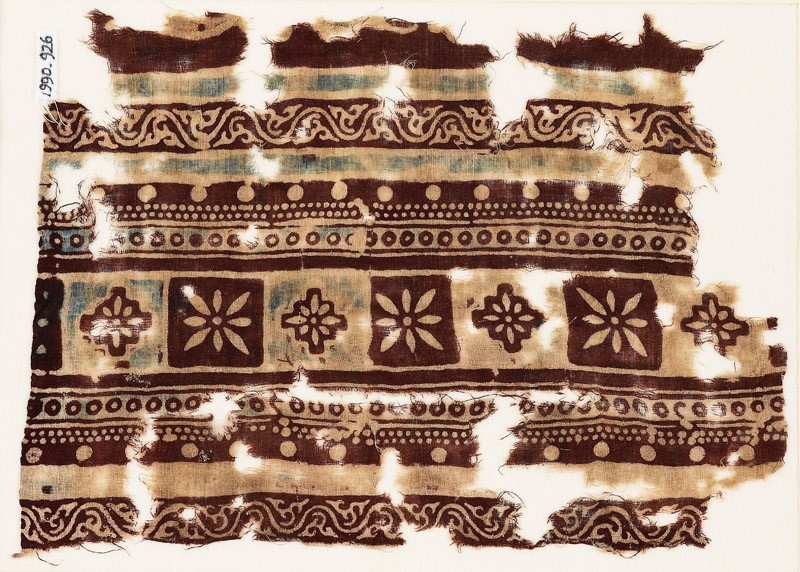 Textile fragment with bands of squares, diamond-shapes, and rosettes (EA1990.926, front            )