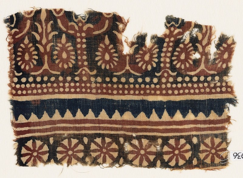 Textile fragment with flowering trees and rosettes (EA1990.936, front            )