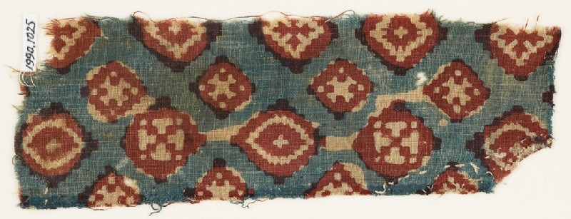 Textile fragment probably imitating patola pattern, with diamond-shapes and crosses (EA1990.1025, front             )