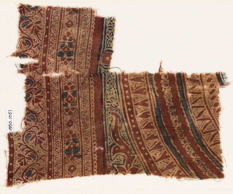 Textile fragment with concentric circles, triangles, and dots