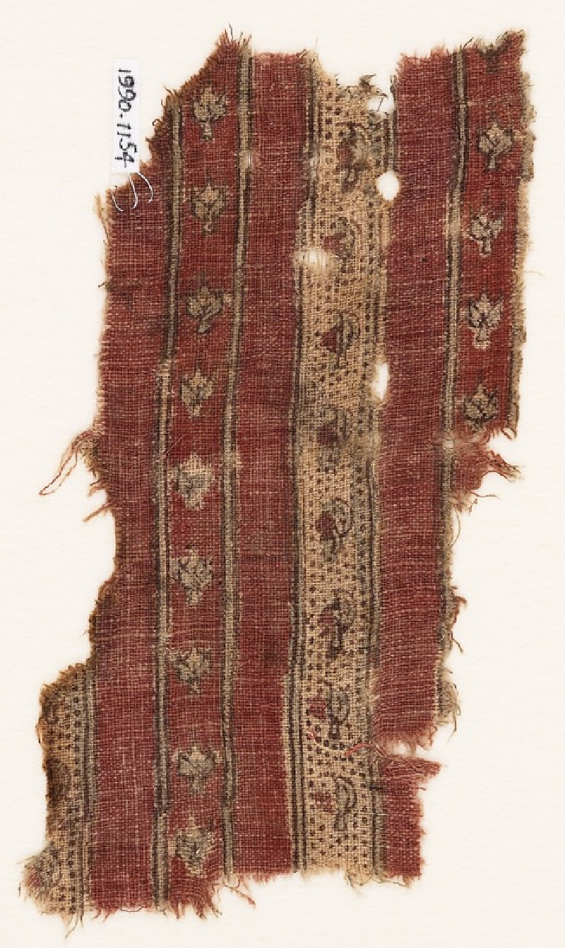 Textile fragment with bands of flowers (EA1990.1154, front             )