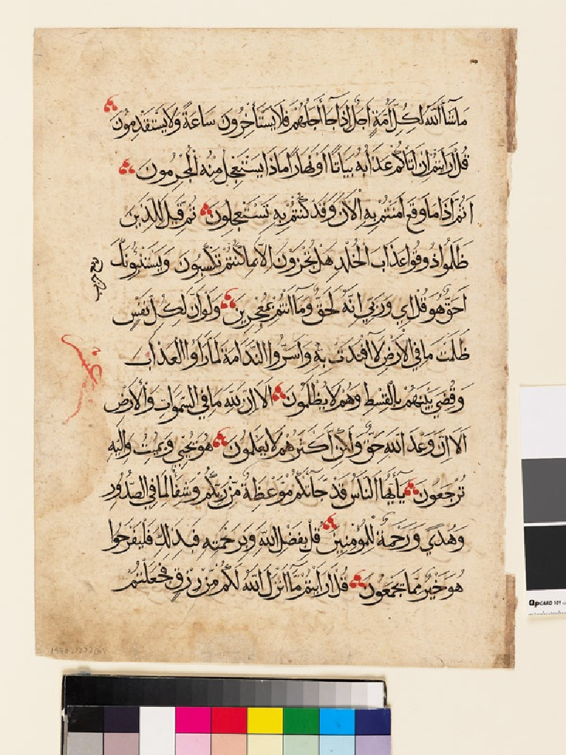Page from a Qur'an in rayhani or muhaqqaq script (EA1990.1273.a, front               )