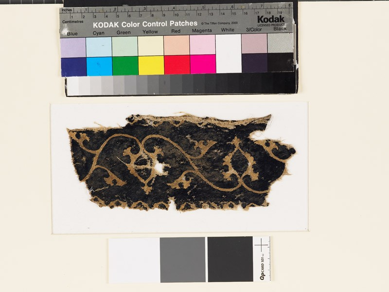Textile fragment with scrolling stems, leaves, and palmettes