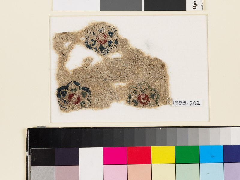Textile fragment with lobed rosettes, rhomboids, and tendrils