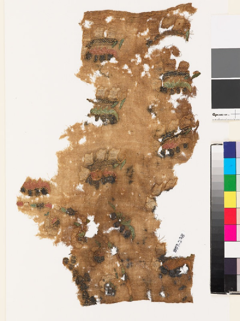 Textile fragment from a turban cover with sprays of flowers and leaves