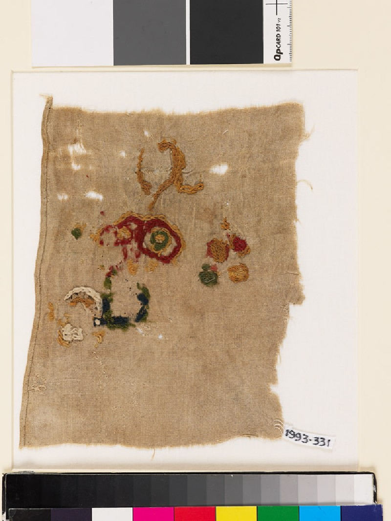 Textile fragment with incomplete floral shapes (EA1993.331, front            )