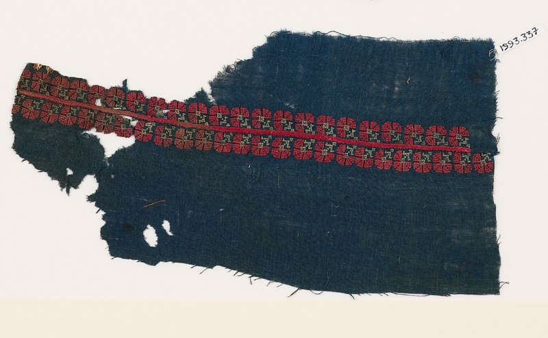 Textile fragment from a garment with band of stylized flowers (EA1993.337, front            )