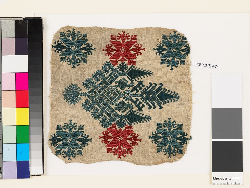 Textile fragment with an elaborate medallion, trees, birds, and flowers (EA1993.370, front            )