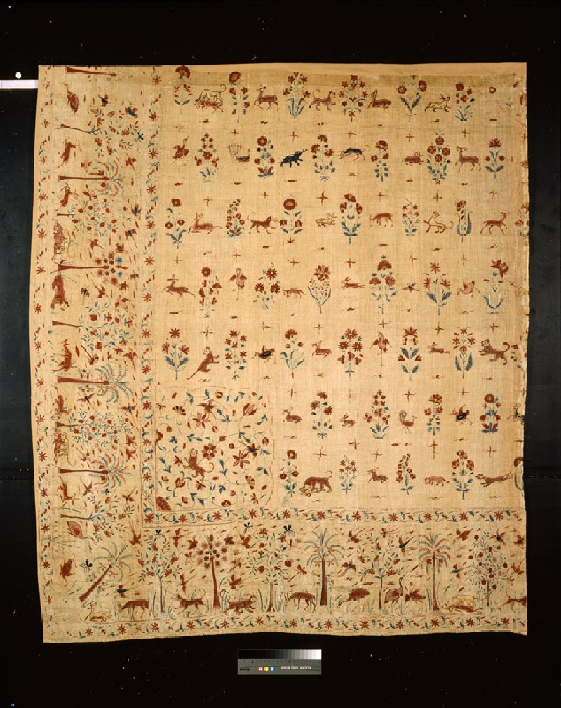 Quarter of a coverlet with animals, birds, flowers, and insects among trees (EA1993.382, front            )