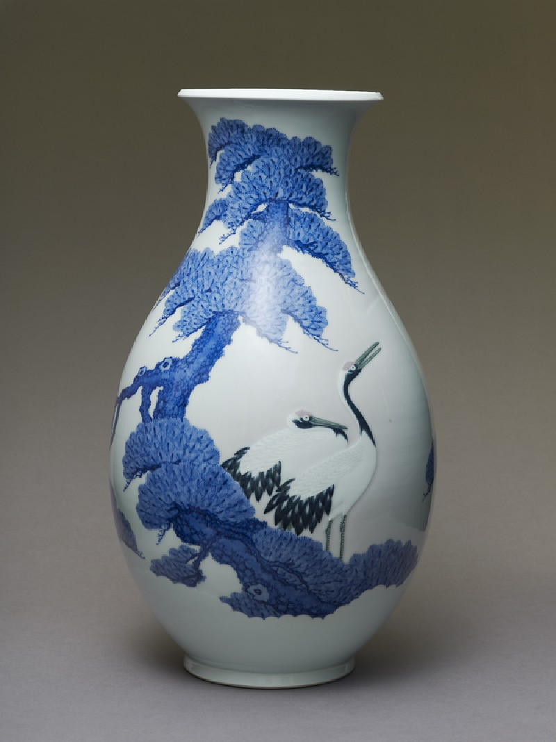Inverted baluster vase with two cranes