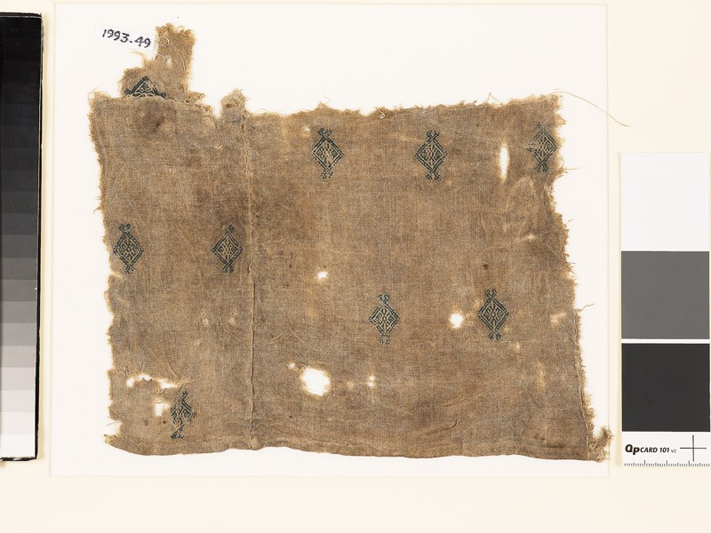 Textile fragment with diamond-shapes and palmettes, probably from a tunic (EA1993.49, front           )