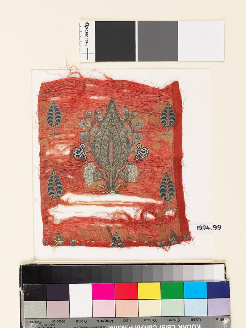 Textile fragment with cypress trees (EA1994.99, front           )