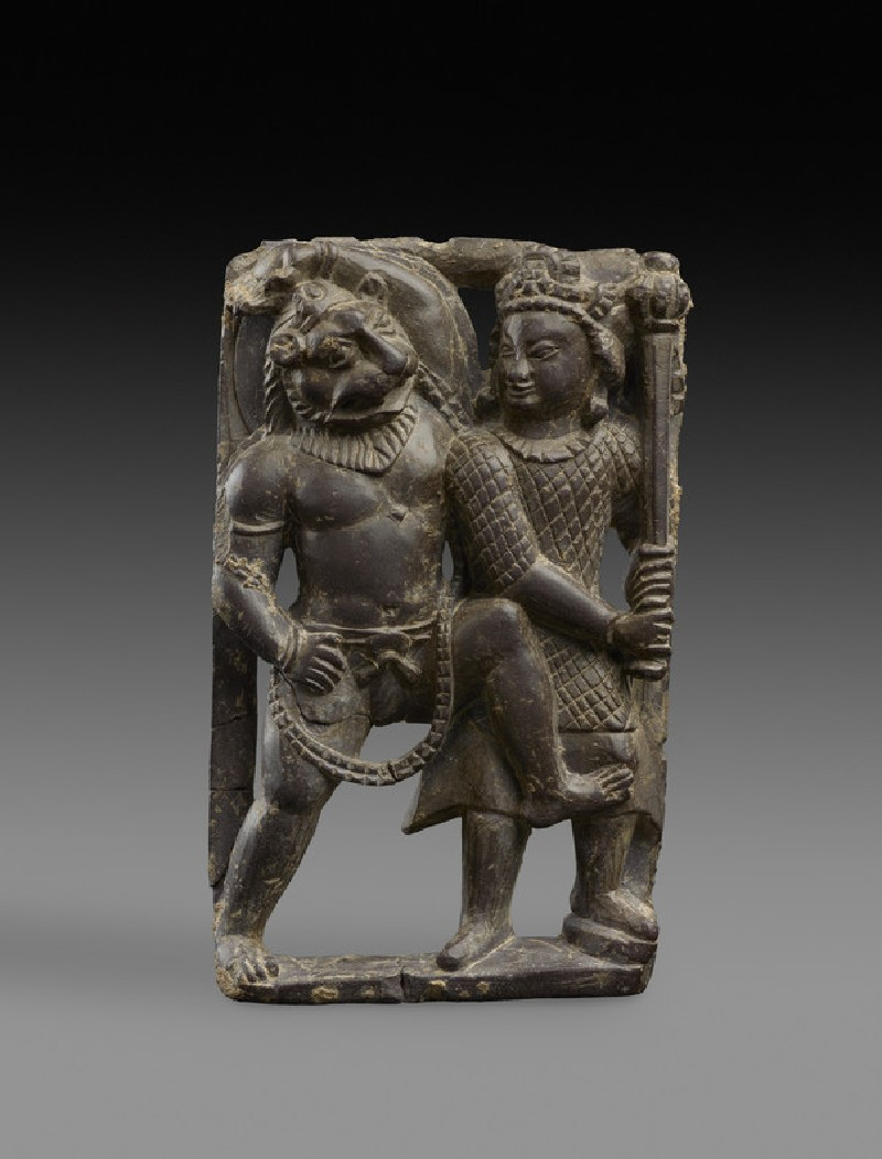 Stone plaque of Narasimha slaying the demon Hiranyakashipu