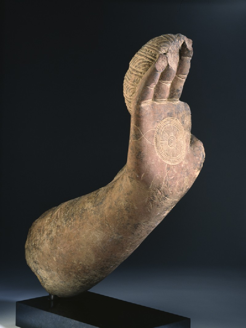 Fragmentary hand and forearm from the Buddha (EA1997.186, side            )