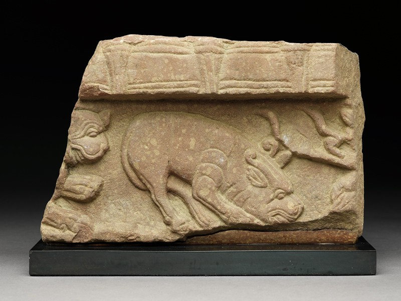 Fragment of a coping stone with horned mythical creature (EA1997.252, front            )
