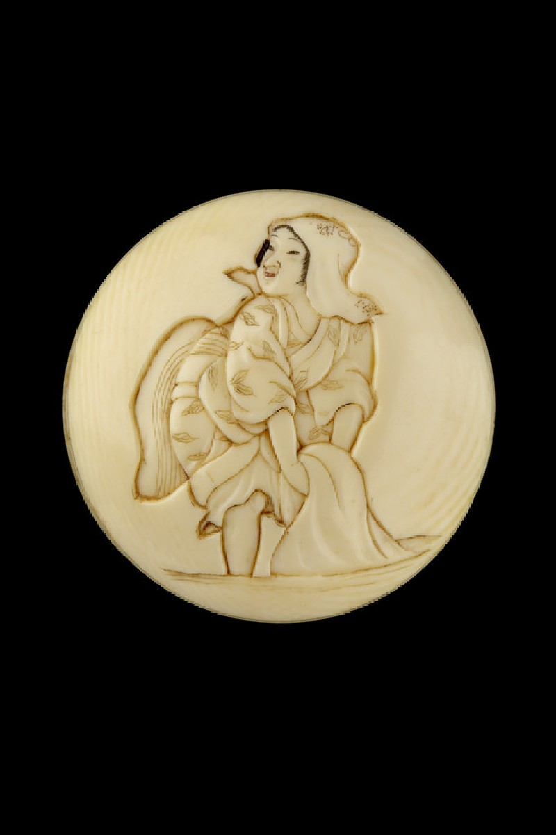 Manjū netsuke depicting a young girl washing cloth in the river (EA2001.117)