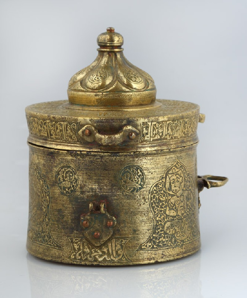 Inkwell with inscription and musicians