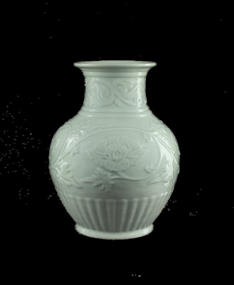 Vase with relief decoration of scrolling peonies (EA2015.409)