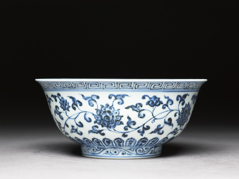 Blue-and-white bowl with lotus scrolls