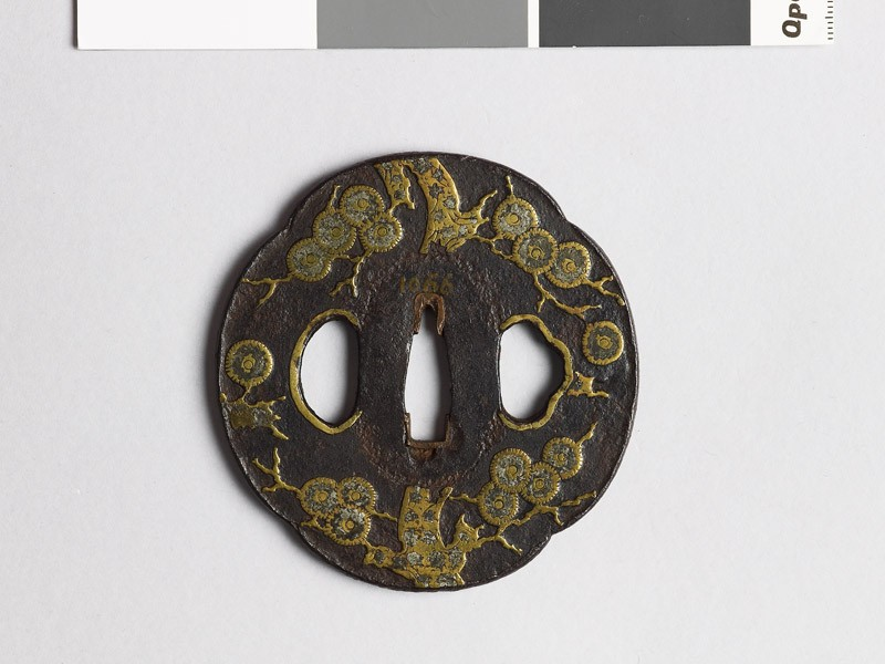 Mokkō-shaped tsuba with pine tree (EAX.10109, front           )
