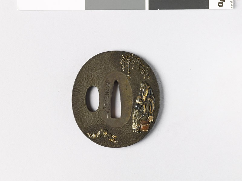 Tsuba depicting the Chinese sage Lin Ho-ch'ing pouring wine (EAX.10979, front           )