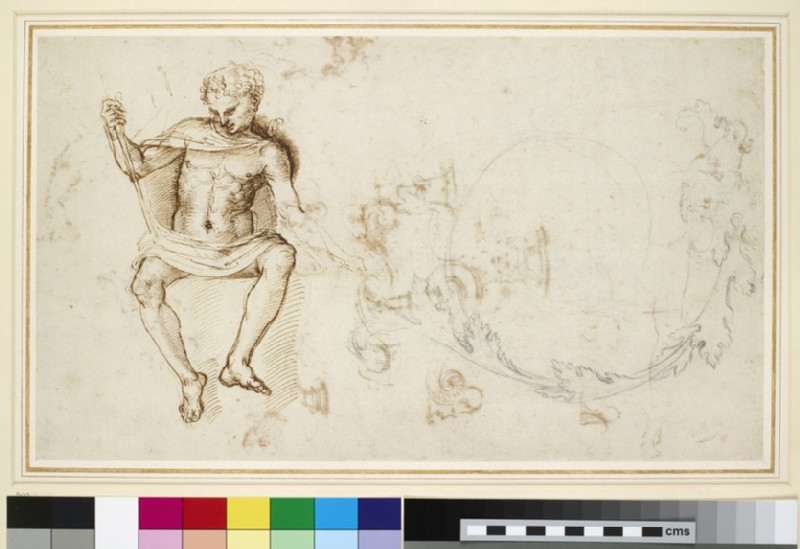 Recto: Studies of a seated man, and of acanthus foliage <br />Verso: Sheet of studies mainly of ornamental details (WA1846.147)