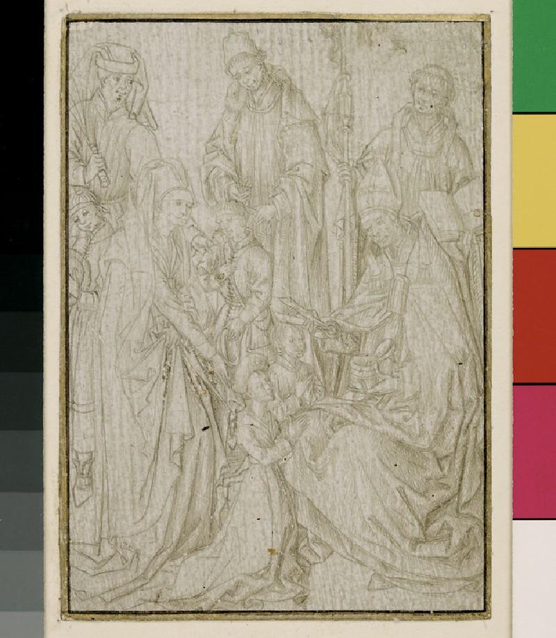 Recto: Confirmation and Conferring of Minor Orders <br />Verso: The Eucharist (WA1863.221)