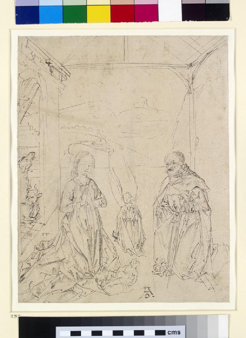 Recto: The Nativity<br />Verso: Study of a foot, study of a leg (WA1863.389)